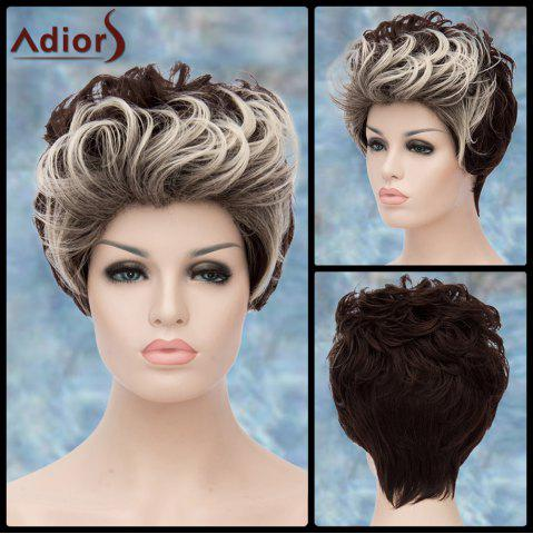 Trendy Adiors Double Color Short Fluffy Curly Lolita Cosplay Synthetic Wig WHITE/BLACK