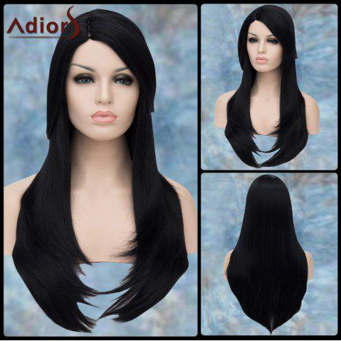 Online Adiors Long Side Parting Straight Layered Tail Adduction Lolita Synthetic Wig BLACK