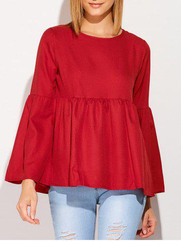 Shop Flare Sleeve Smock T-Shirt WINE RED XL
