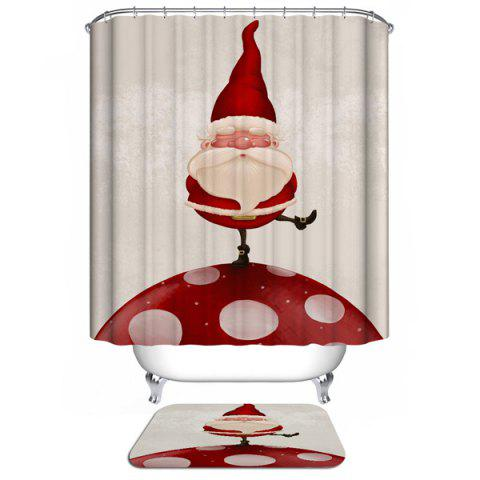New Merry Christmas Santa Claus Waterproof Barhroom Shower Curtain WHITE