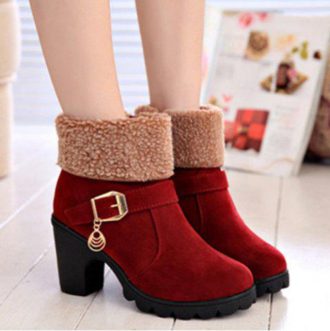 Hot Belt Buckle Chunky Heel Ankle Boots WINE RED 39
