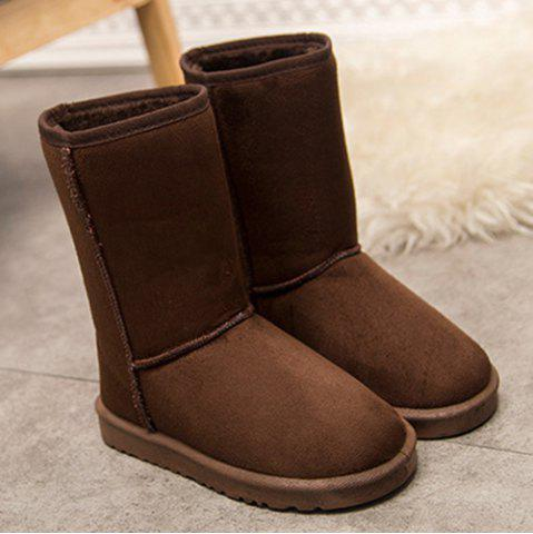 Buy Flat Heel Suede Dark Colour Snow Boots DEEP BROWN 39
