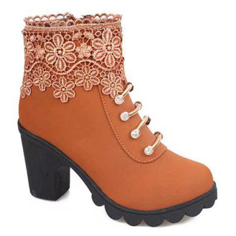 Fancy Metal Embroidery Zipper Ankle Boots LIGHT BROWN 39
