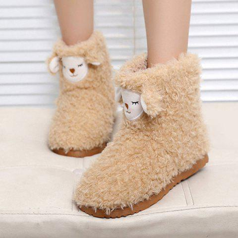 Fancy Color Block Flat Heel Snow Boots