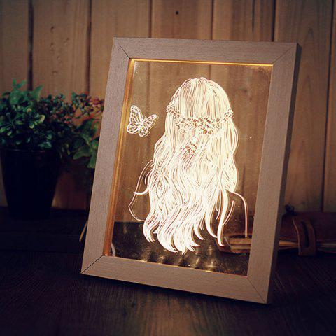 Fashion 3D Vision USB Table Decor Wooden Photo Picture Frame Night Light