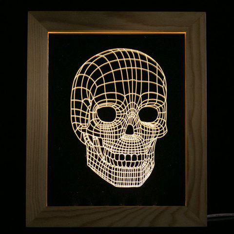 Chic 3D Vision USB Skull Wooden Photo Picture Frame Night Light