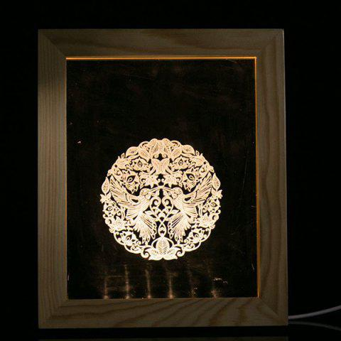 Creative 3D Vision USB Wooden Photo Picture Frame Night Light - TRANSPARENT