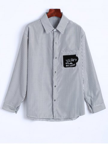 Hot Striped Letter Patched Number Embroidered Shirt