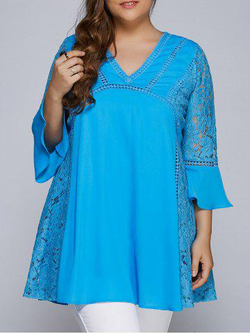 Store Lacework Splicing Hollow Out Plus Size Blouse