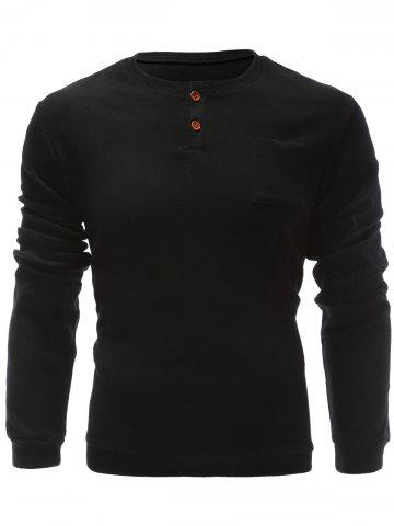 Outfits One Pocket Single Breasted Sweatshirt BLACK XL