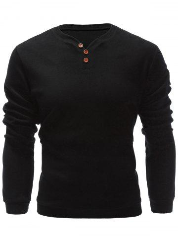 Sale Three Buttons V Neck Sweatshirt BLACK XL