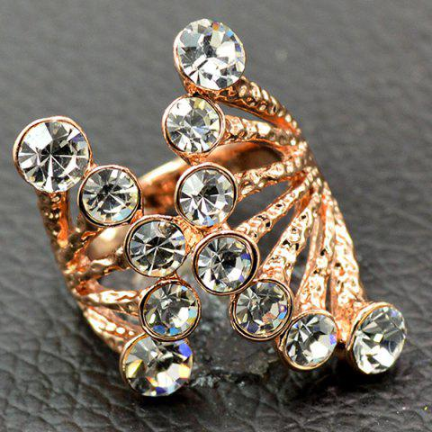 Outfit Rhinestone Octopus Shape Cuff Ring WHITE 19