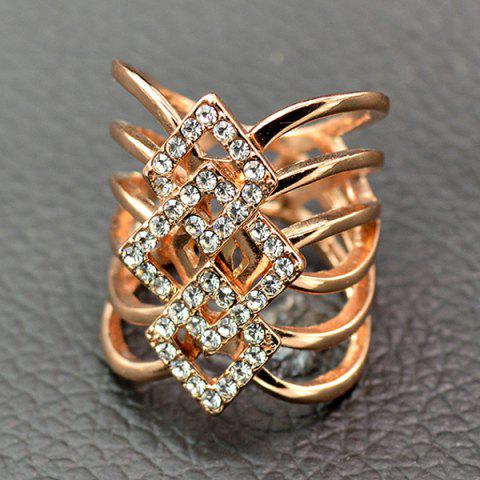 Trendy Rhinestone Rhombus Hollow Out Ring ROSE GOLD 19