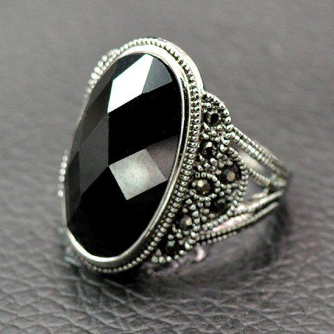 Outfits Vintage Artificial Onyx Finger Ring BLACK 18
