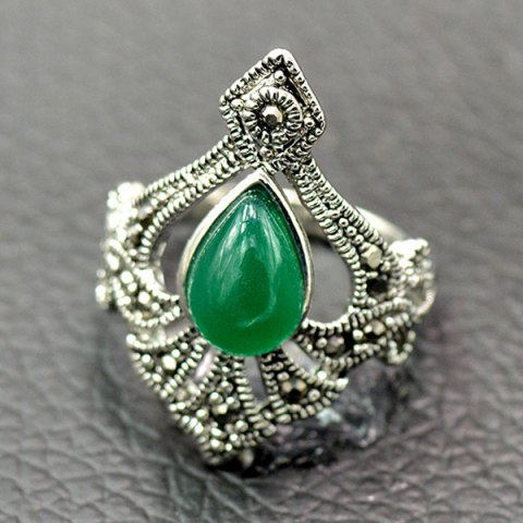 Affordable Ethnic Artificial Gemstone Alloy Ring GREEN 17