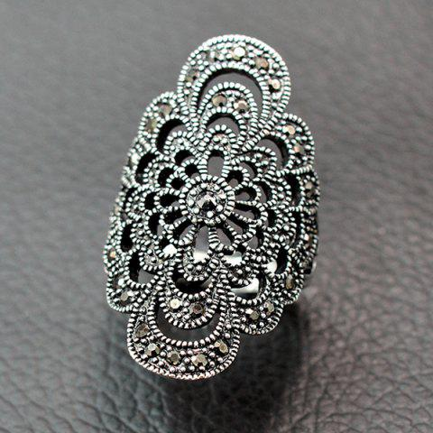 Affordable Retro Hollow Out Rhinestone Floral Ring SILVER 18
