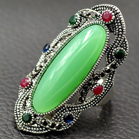 Latest Embossed Rhinestone Faux Gem Statement Ring LIGHT GREEN 18