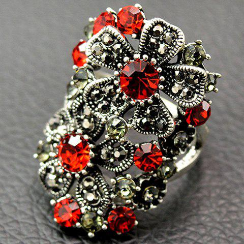 Hot Vintage Floral Rhinestone Hollow Out Ring