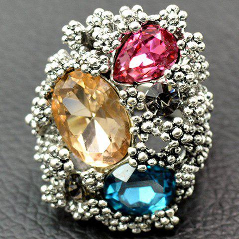 Outfit Europe Zirconia Faux Crystal Floral Ring SILVER 18