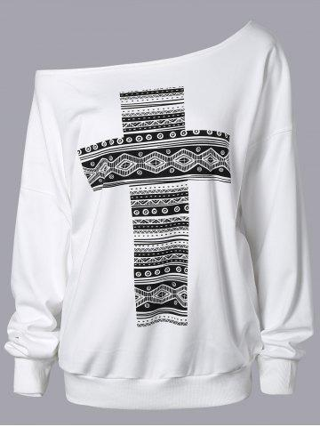 Latest Cross Print Skew Neck Sweatshirt WHITE ONE SIZE
