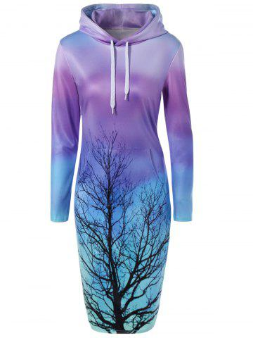 New Tree Printed Ombre Hooded Sweatshirt Dress LAKE BLUE L