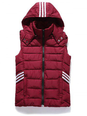 Trendy Stripe Zip Up Hooded Vest