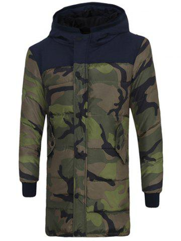 Outfits Zip Up Spliced Hooded Padded Camo Coat