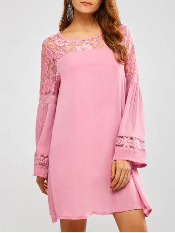 Best Lace Long Sleeve Short Tunic Dress with Sleeves PINK XL