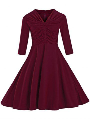 Unique Ruched Slim Fit Swing Dress WINE RED L