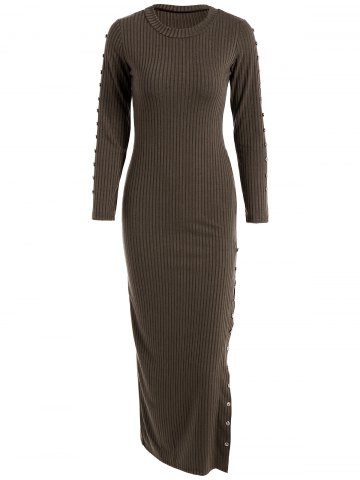 Latest Slit Ribbed Maxi Long Sleeve Winter Sweater Dress COFFEE XL