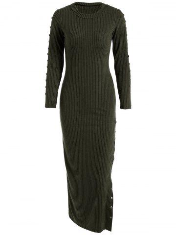 Slit Ribbed Maxi Long Sleeve Winter Sweater Dress - Blackish Green - Xl