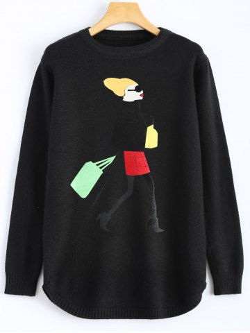 Buy Girl Graphic Crew Neck Sweater BLACK ONE SIZE