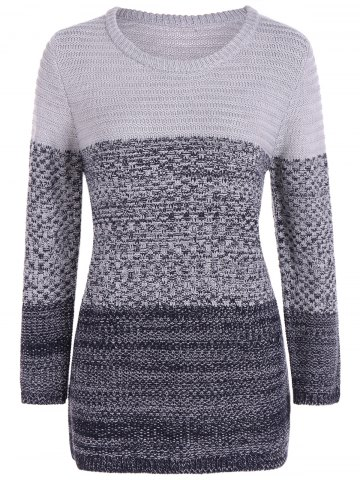 Shops Ombre Longline Knitted Sweater GRAY ONE SIZE