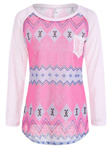 Store Tribal Print Long Sleeve Pocket Tee ROSE + WHITE XL