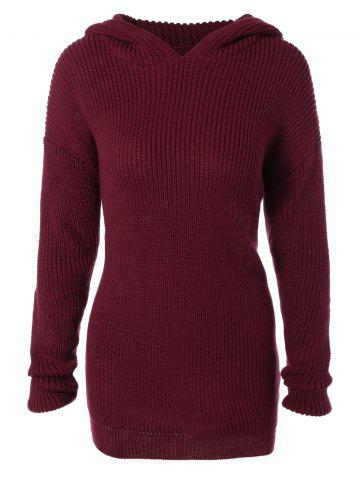 Fashion Longline Hooded Chunky Sweater WINE RED 2XL