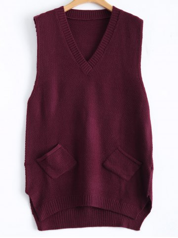 Fancy Patch Pocket Jumper Tank Sweater Dress