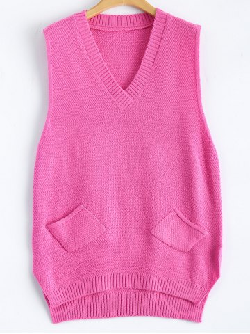 Patch Pocket Jumper Tank Sweater Dress - Rose Red - One Size
