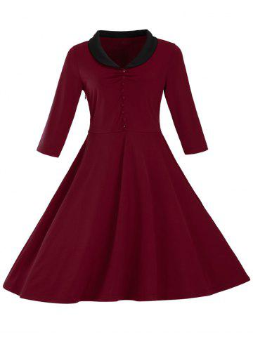 Latest Color Block Slim Fit Swing Dress
