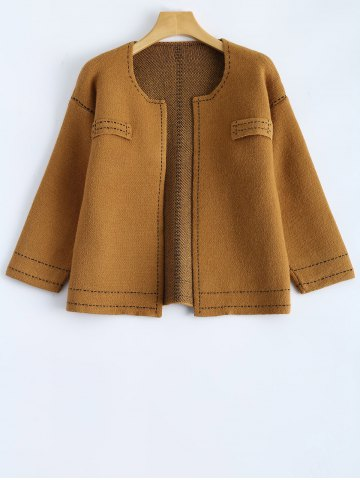 Buy Contrast Stitching Cropped Cardigan CAMEL ONE SIZE