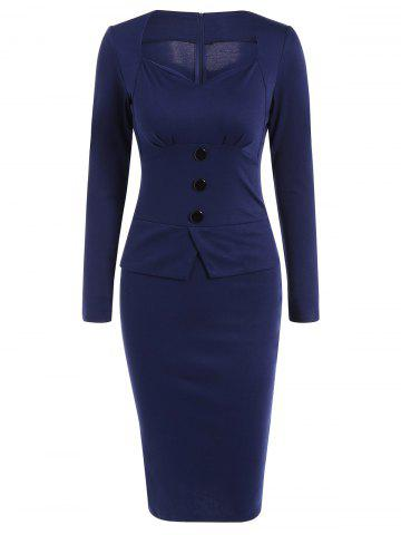 Affordable Long Sleeve Sheath Midi Office Work Dress
