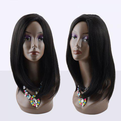 Cheap Kanekalon Long Middle Parting Straight Synthetic Wig BLACK