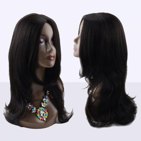 Affordable Kanekalon Long Middle Parting Slightly Curled Synthetic Wig