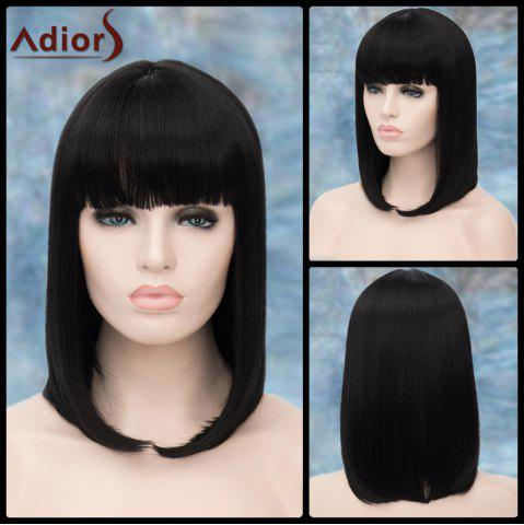 Best Adiors Medium Straight Neat Bang Tail Adduction Synthetic Wig