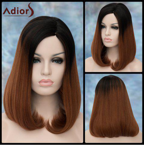 Online Adiors Medium Side Parting Straight Tail Adduction Synthetic Wig COLORMIX