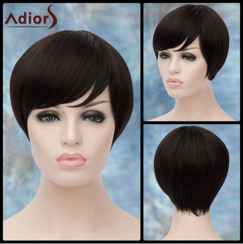 Latest Adiors Short Silky Straight Inclined Bang Synthetic Wig BLACK