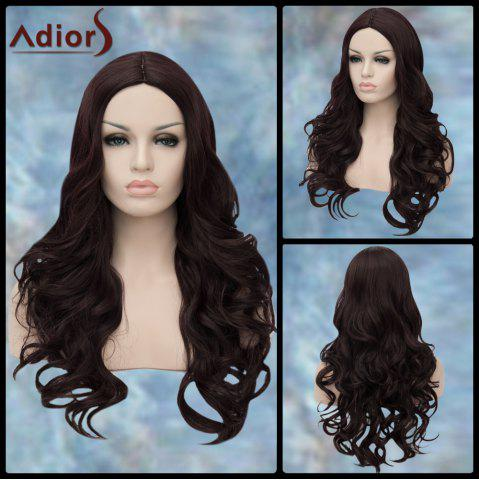 Affordable Adiors Long Middle Parting Wavy Synthetic Wig PURPLISH RED