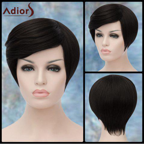 Adiors Short Spiffy Oblique Bang Straight Synthetic Wig - BLACK