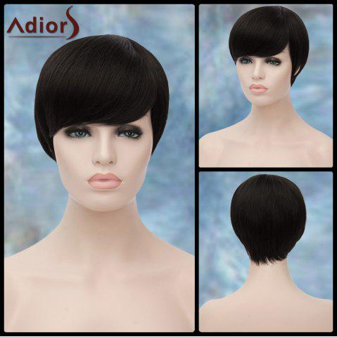 Adiors Short Inclined Bang Straight Synthetic Wig - BLACK
