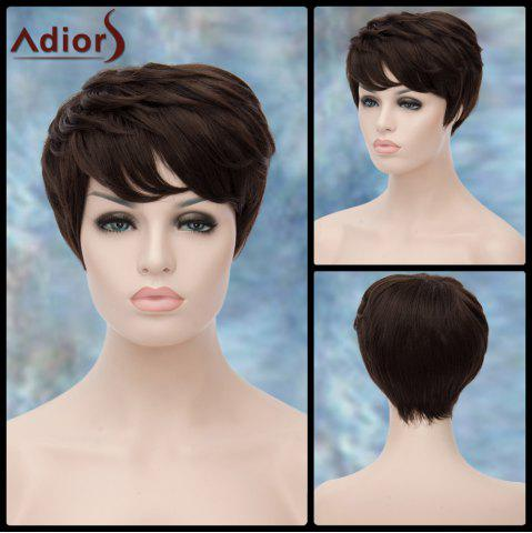 Outfits Adiors Short Layered Inclined Bang Straight Synthetic Wig DEEP BROWN