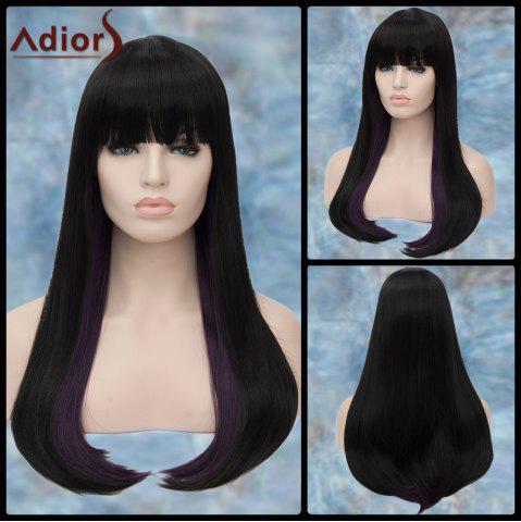 Sale Adiors Long Full Bang Straight Synthetic Wig BLACK PURPLE